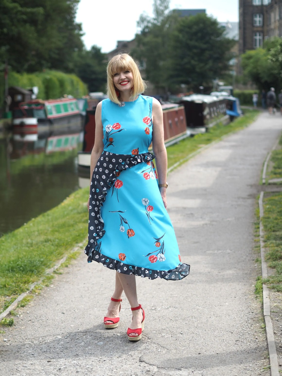 what lizzy loves floral pattern mixing midi dress