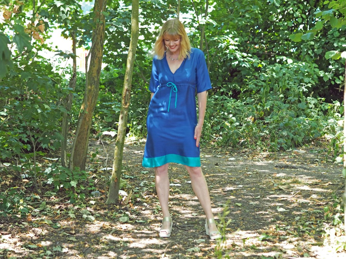 what lizzy loves lapis and turquoise silk dress gold wedges