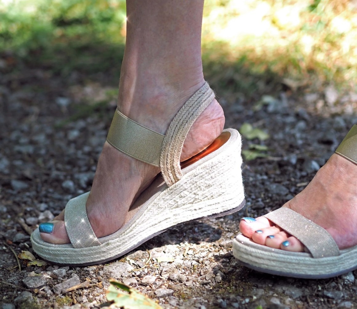 what lizzy loves Lotus Aldita gold wedge sandals
