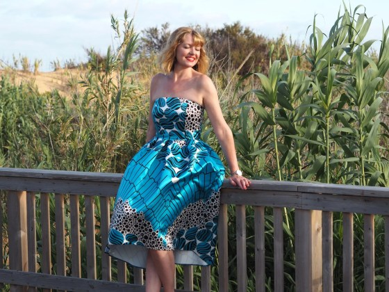 Closet turquoise satin high low dress