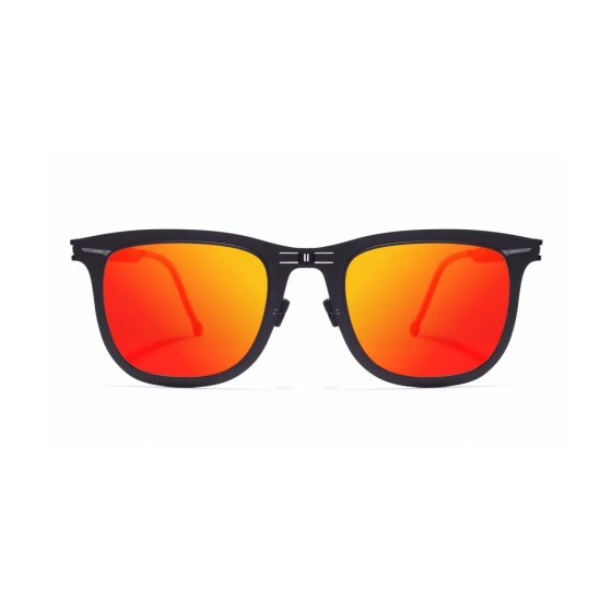 ROAV eyewear Lennon black frame red mirror lenses
