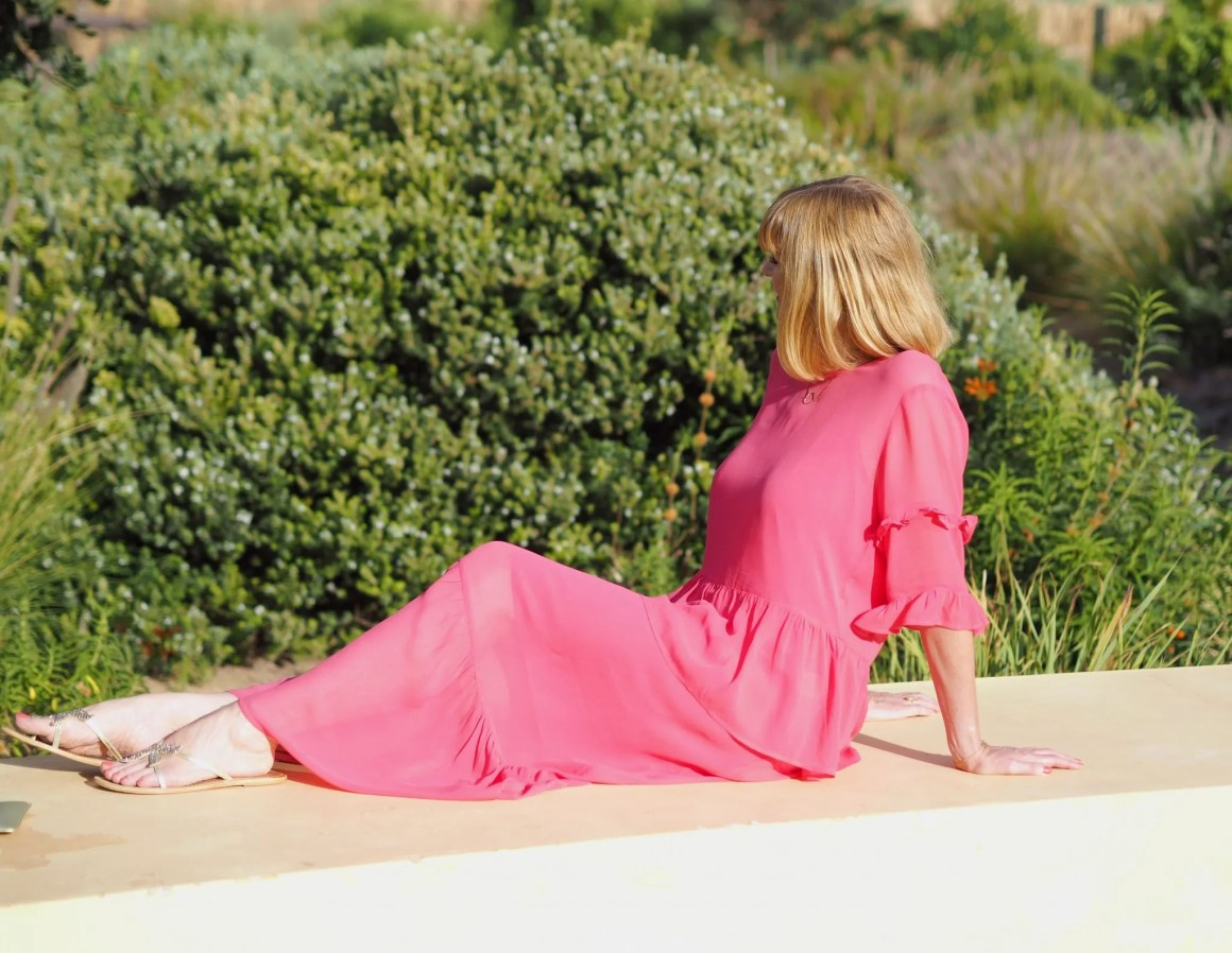 what lizzy loves raspberry ruffle Just Female Nicole maxi dress
