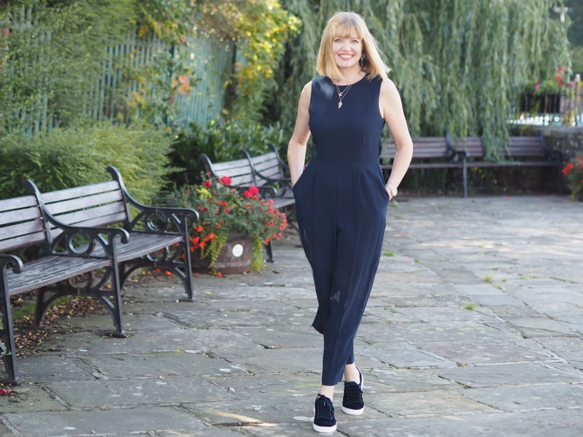 what lizzy loves wears hobbs navy cropped jumpsuit ad velvet trainers