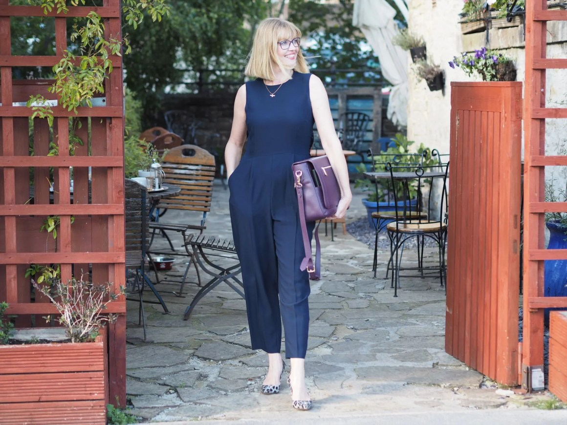 what lizzy loves how to style a navy jumpsuit three ways