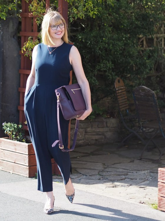 what lizzy loves three ways to wear a navy jumpsuit