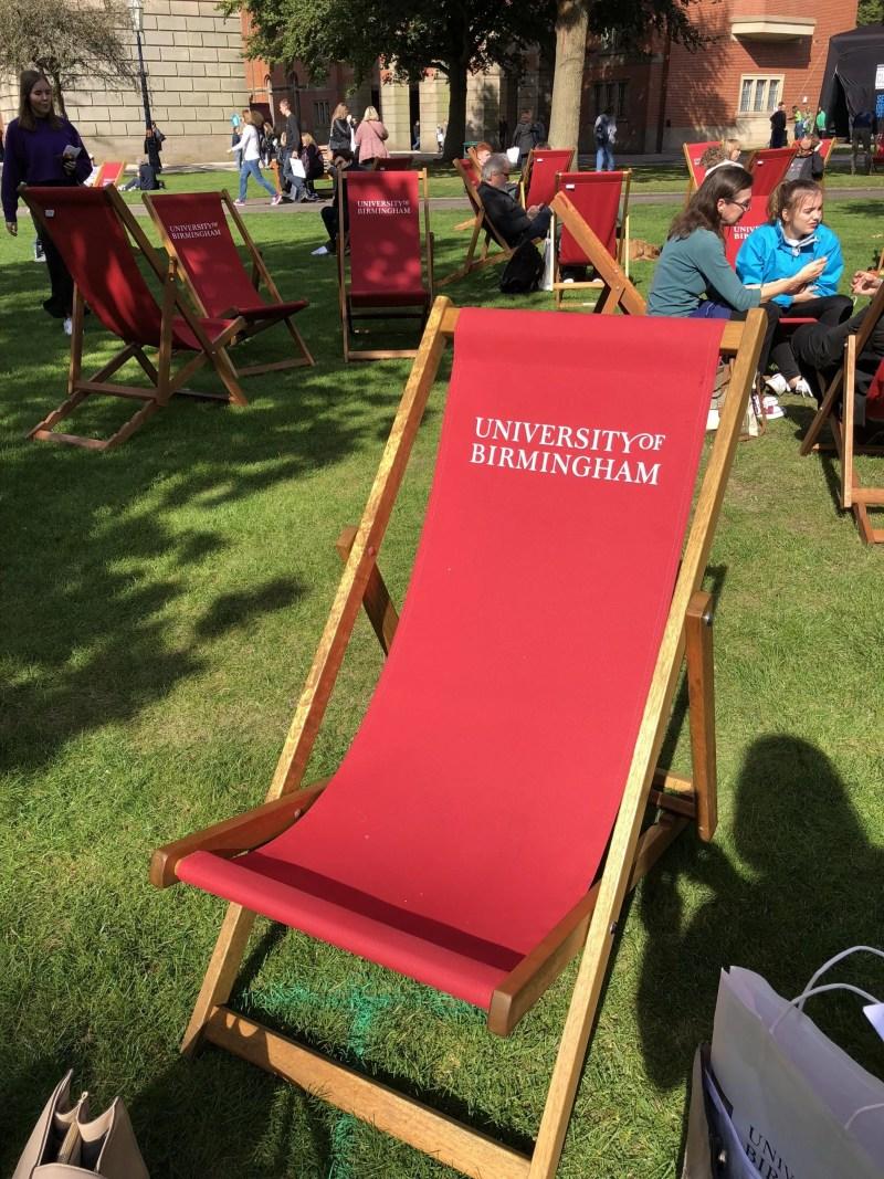 Birmingham university open day deck chairs
