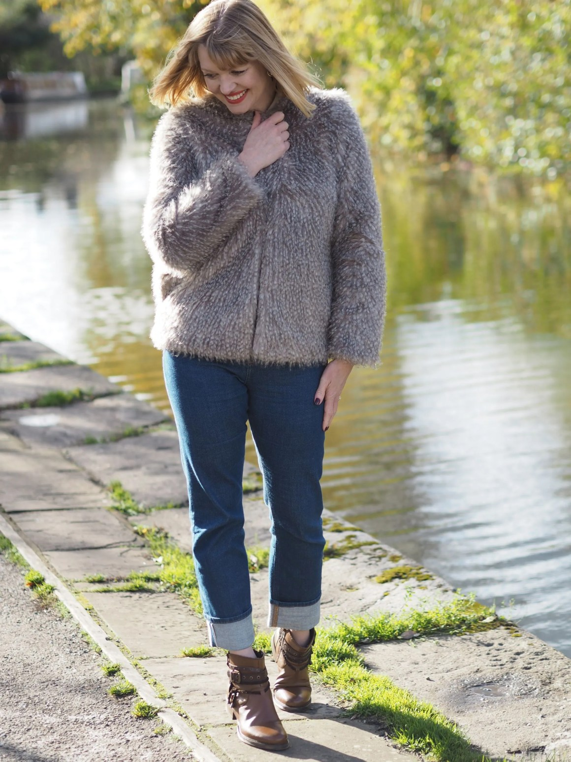 faux fur jacket girlfriend jeans biker boots skipton canal