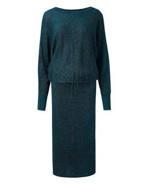 Teal Metallic Batwing Dress