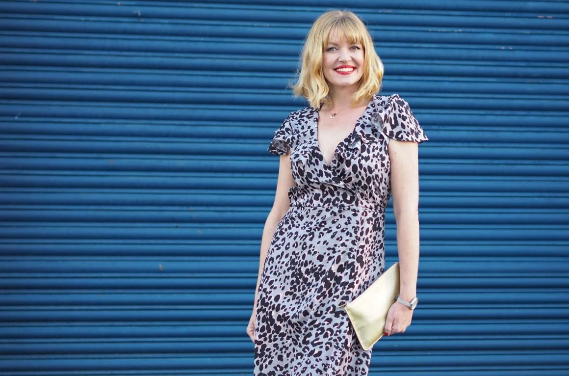 grey leopard wrap dress gold katie loxton pouch