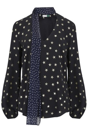 Rixo Angie Blouse in Star and Navy Dot