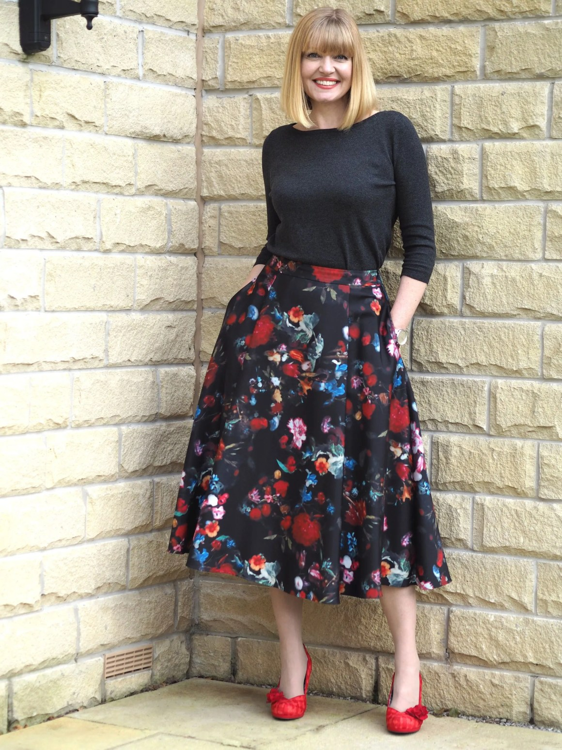 Work outfits crew neck sweater and flared midi skirt