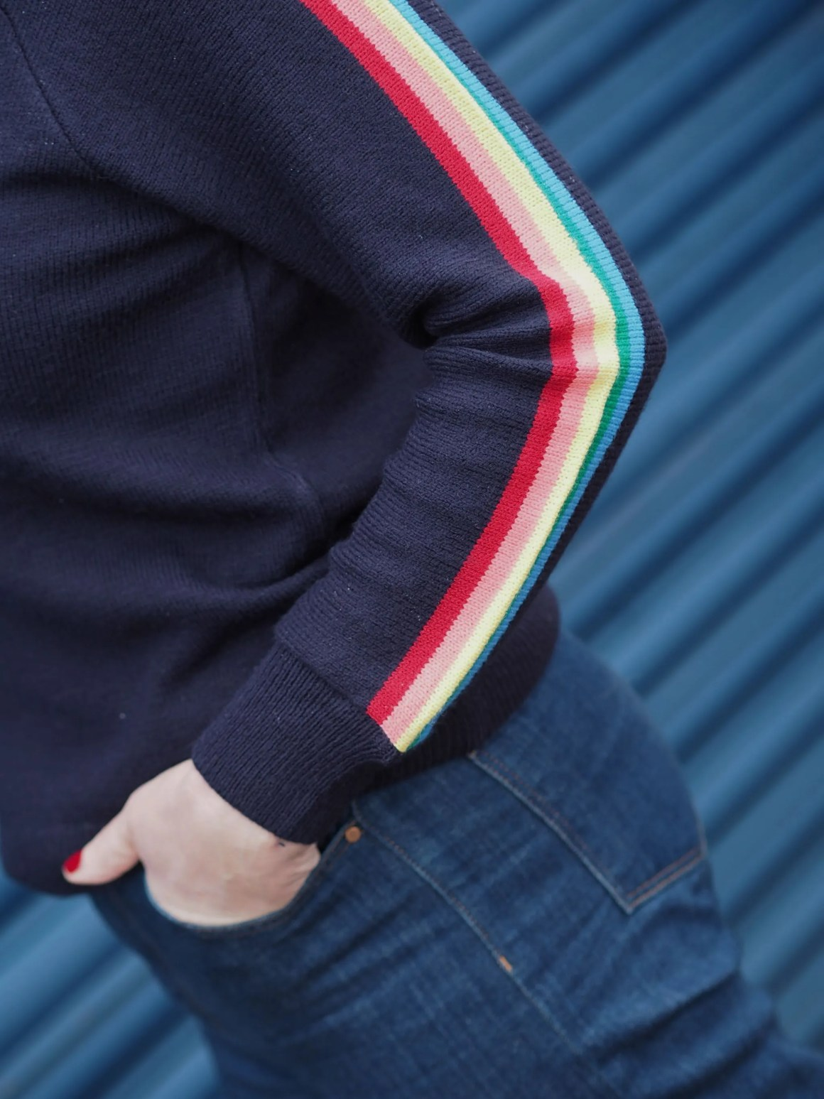 Forty plus blogger What Lizzy Loves wearing rainbow sleeve jumper