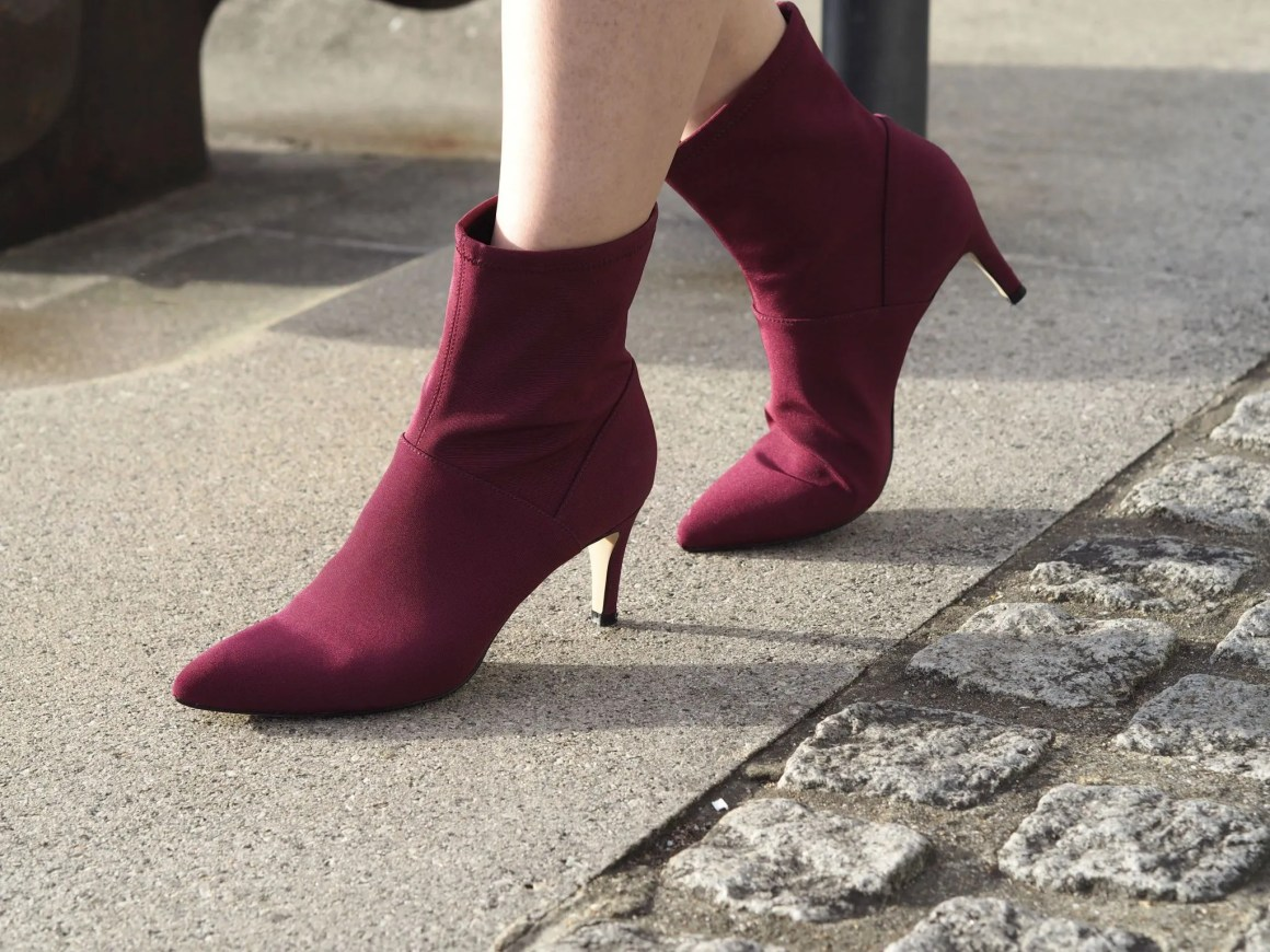 Needle and Thread living Coral dress burgundy ankle boots