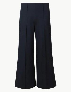 Navy Wide Leg Ponte Trousers