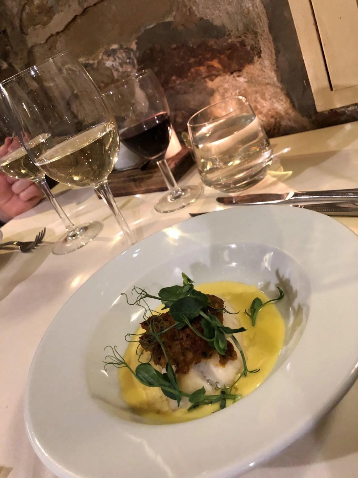 Le Caveau restaurant skipton crab-crusted hake