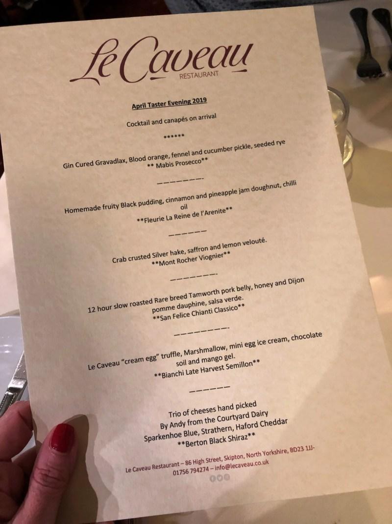 Le Caveau Skipton April six course tasting menu