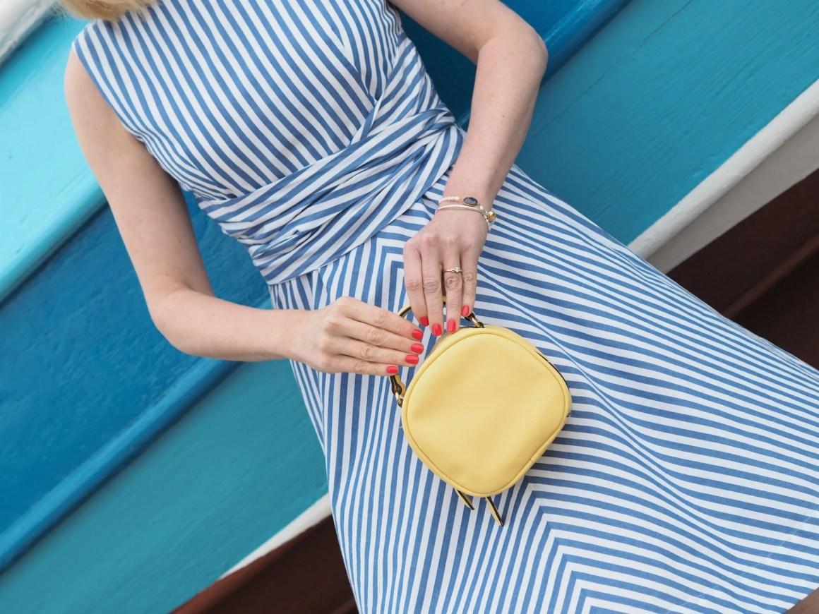 Blue striped 1950s style dress