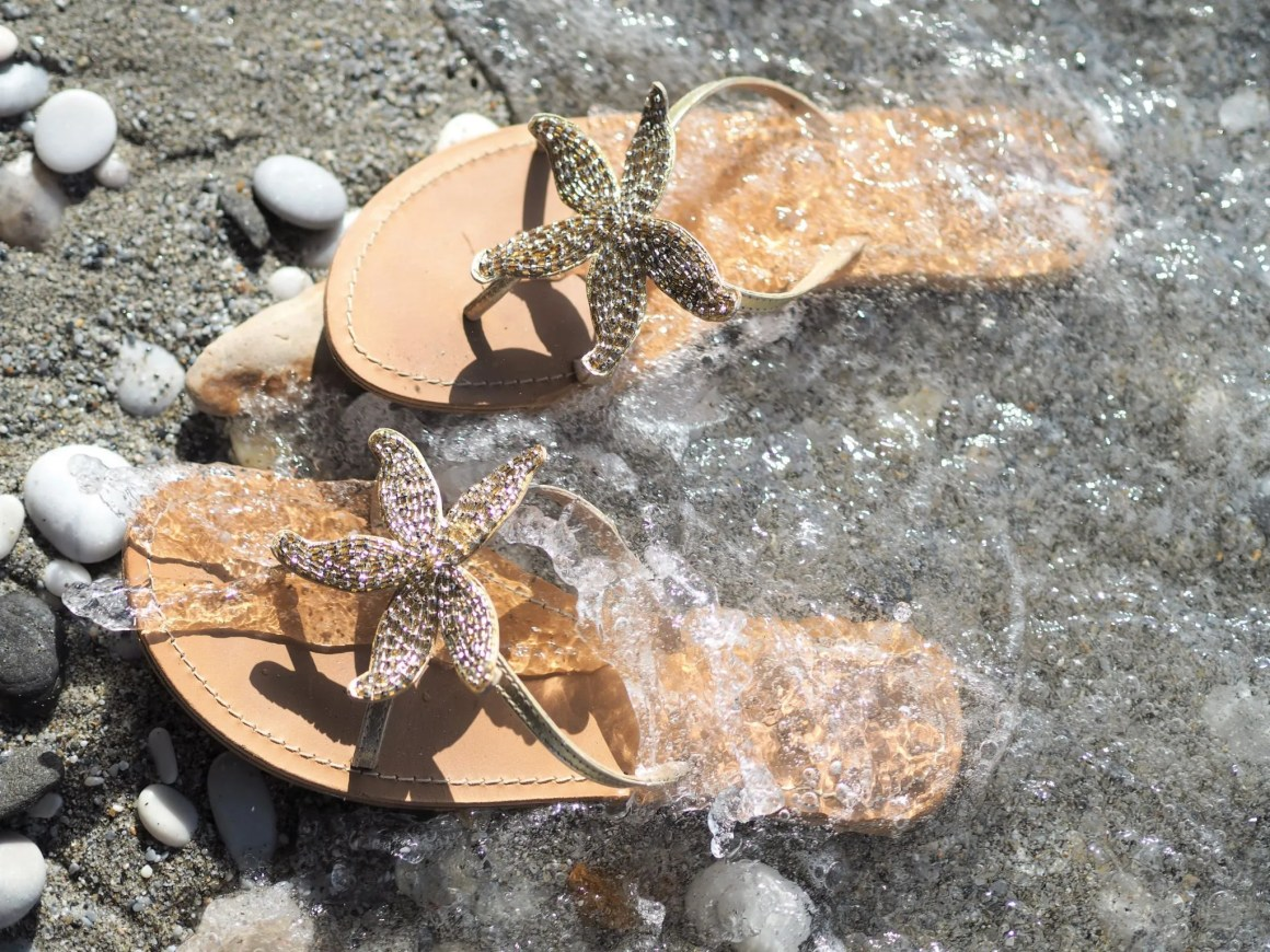 ethical gold starfish sandals