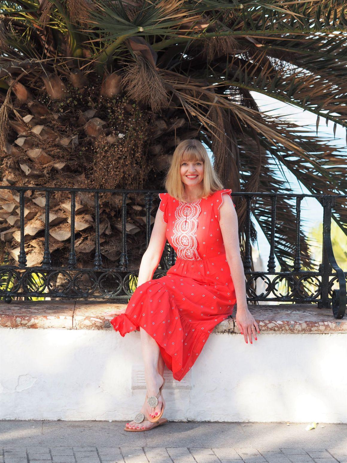 boden red lucinda dress in nerja