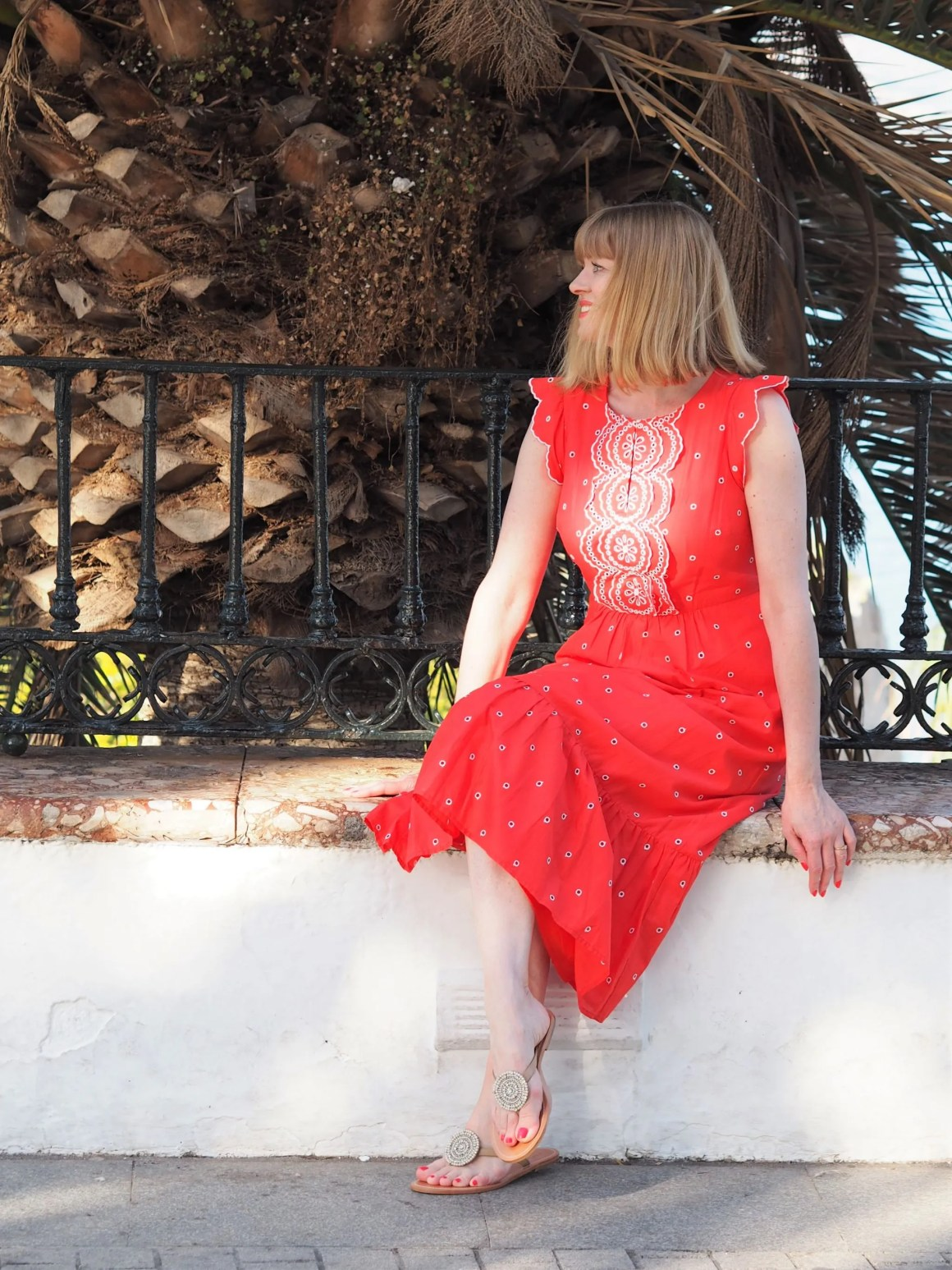 boden red lucinda dress in nerja