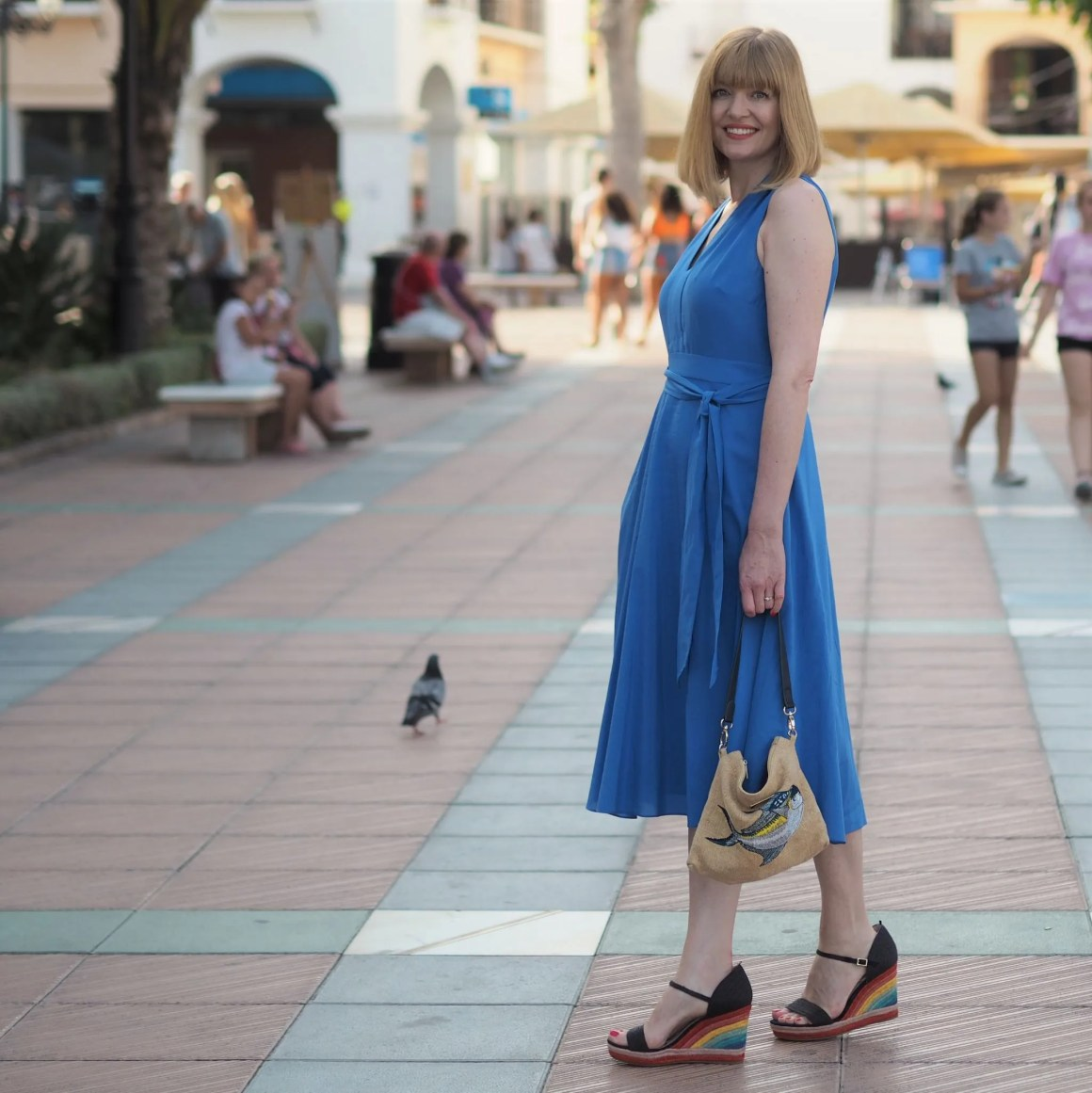 sapphire dress with rainbow wedges