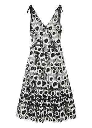 Self-Portrait Monochrome Guipure Lace Midi Dress