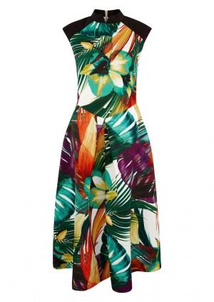 Closet Gold Leaf Print Raglan Dress