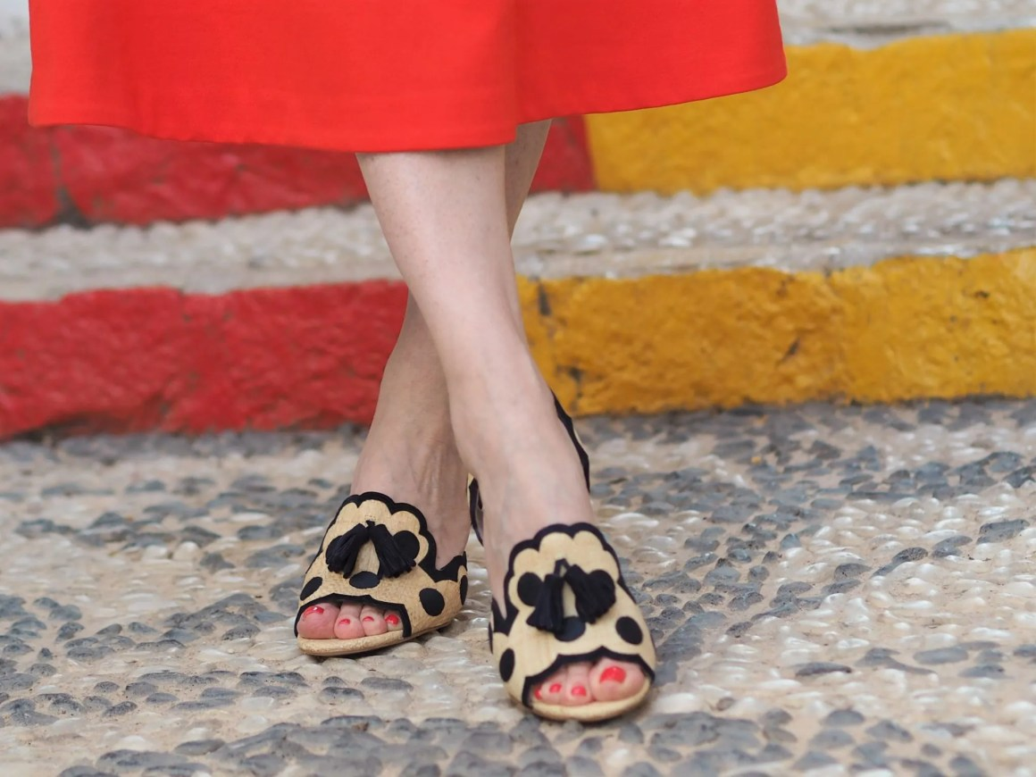raffia spot slingback shoes