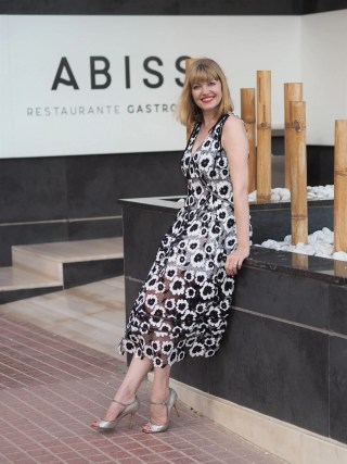 self portrait black and white dress abiss restaurant calpe