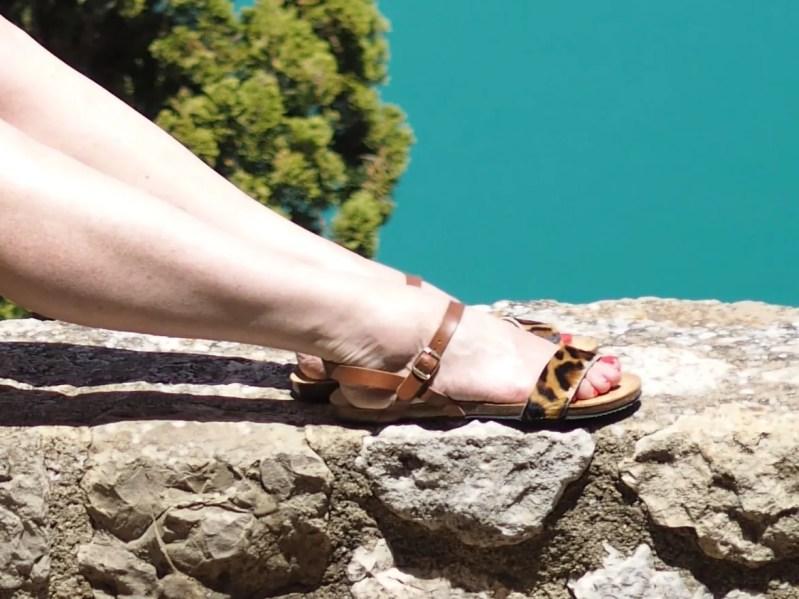 flat leather leopard print sandals