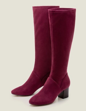 Boden Round Toe Stretch Boots in Ruby Ring