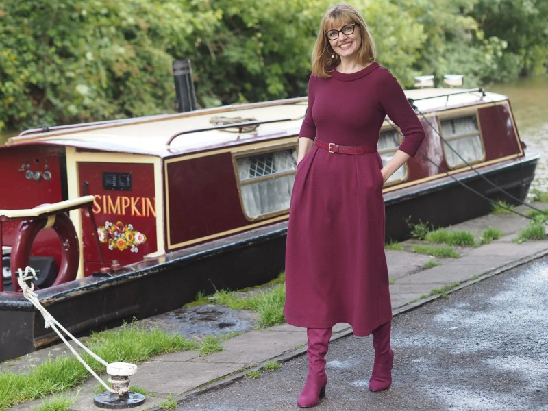 ruby red dress pentagonal eyewear canal boat