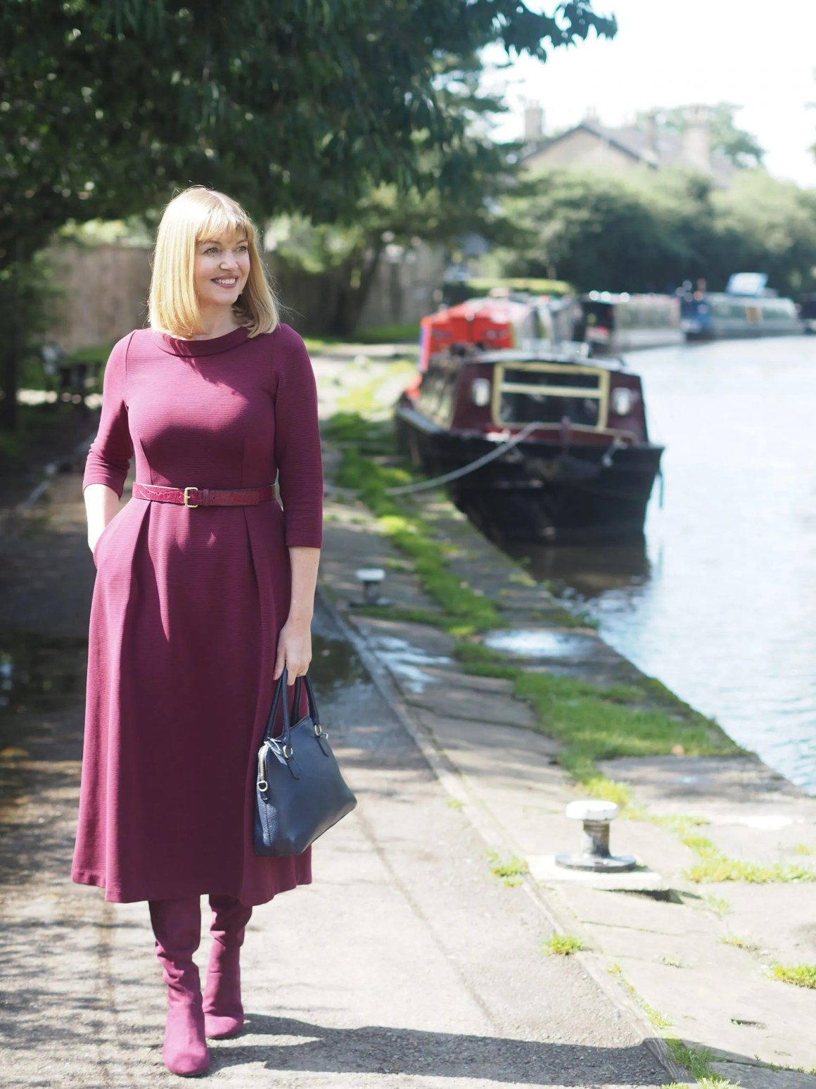 Boden burgundy colour-blocking outfit