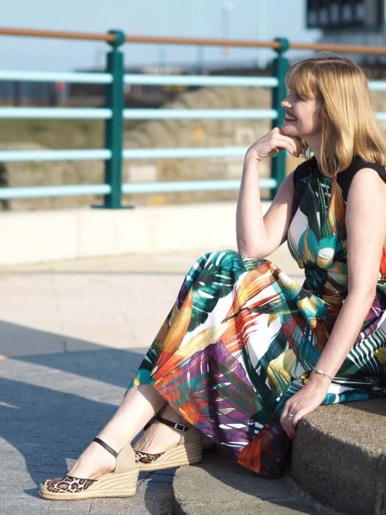 palm leaf occasion dress