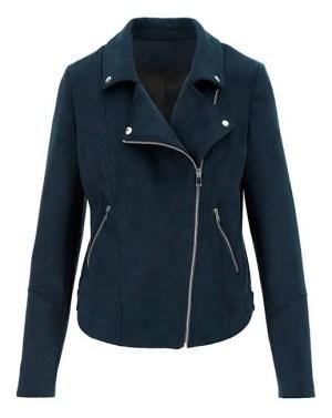 JDW Navy Suedette Biker Jacket