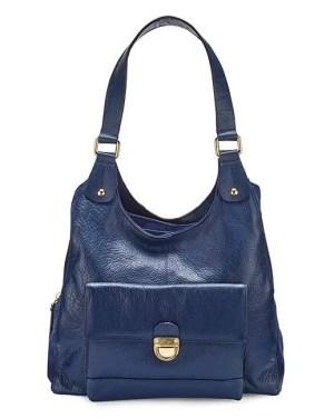 JDW Navy Leather Hobo Bag