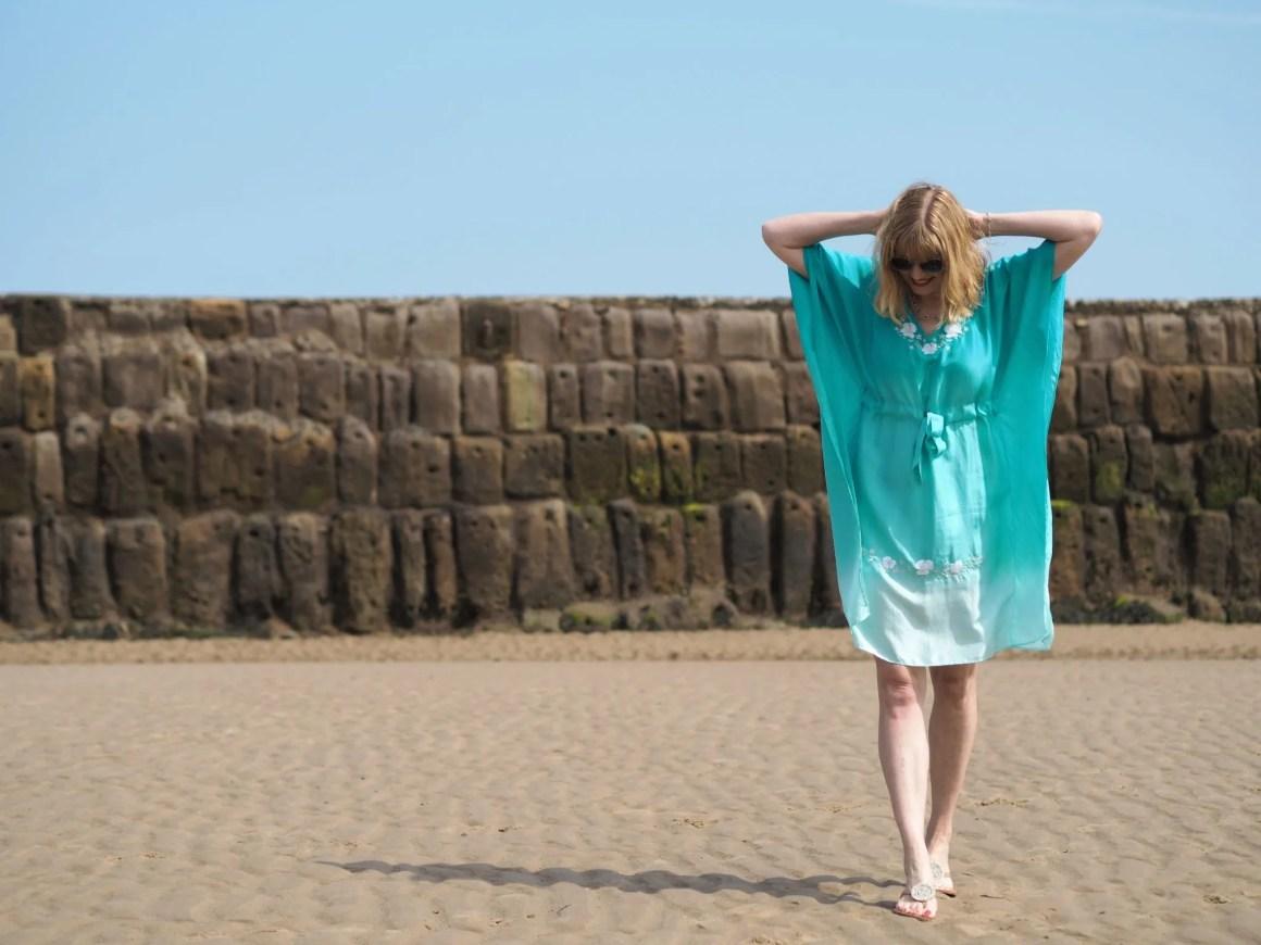 turquoise ombre silk kaftan dress