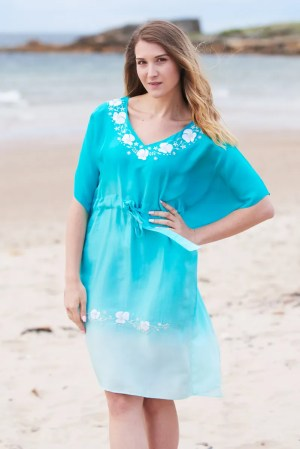 Poppy Silk Embroidered Ombre Kaftan