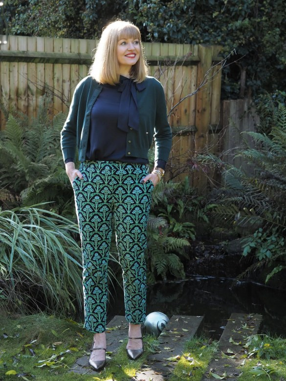 Boden navy silk pussy bow blouse and cropped green cardigan