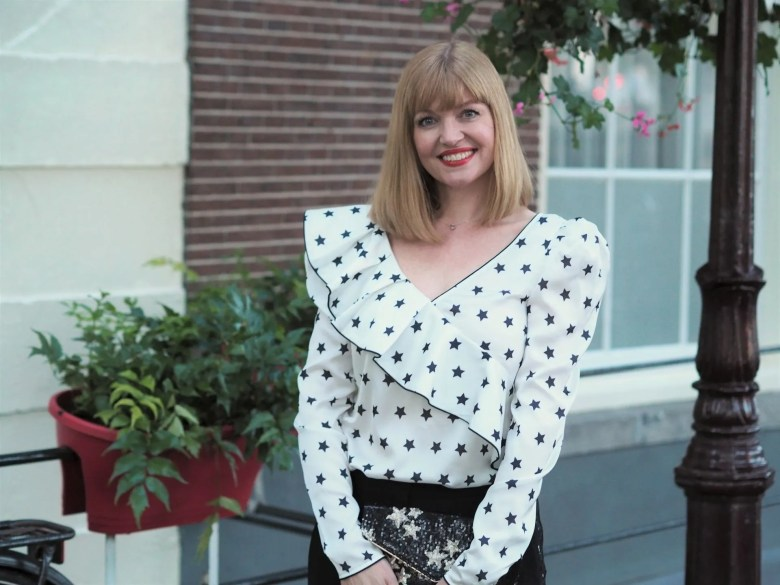 self portrait star blouse with sequin tuxedo trousers