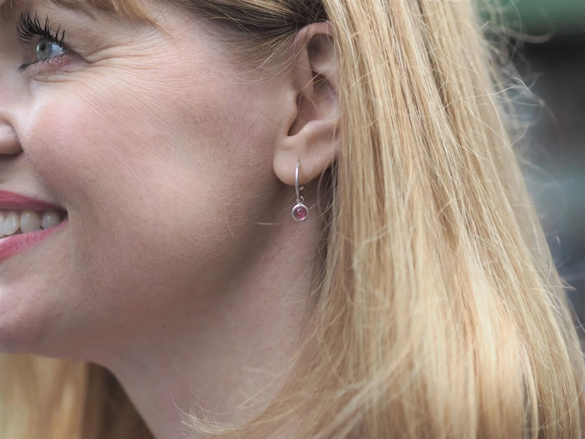 silver and tourmaline hoop birthstone earrings