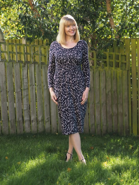 Woolovers navy spot dress work outfits