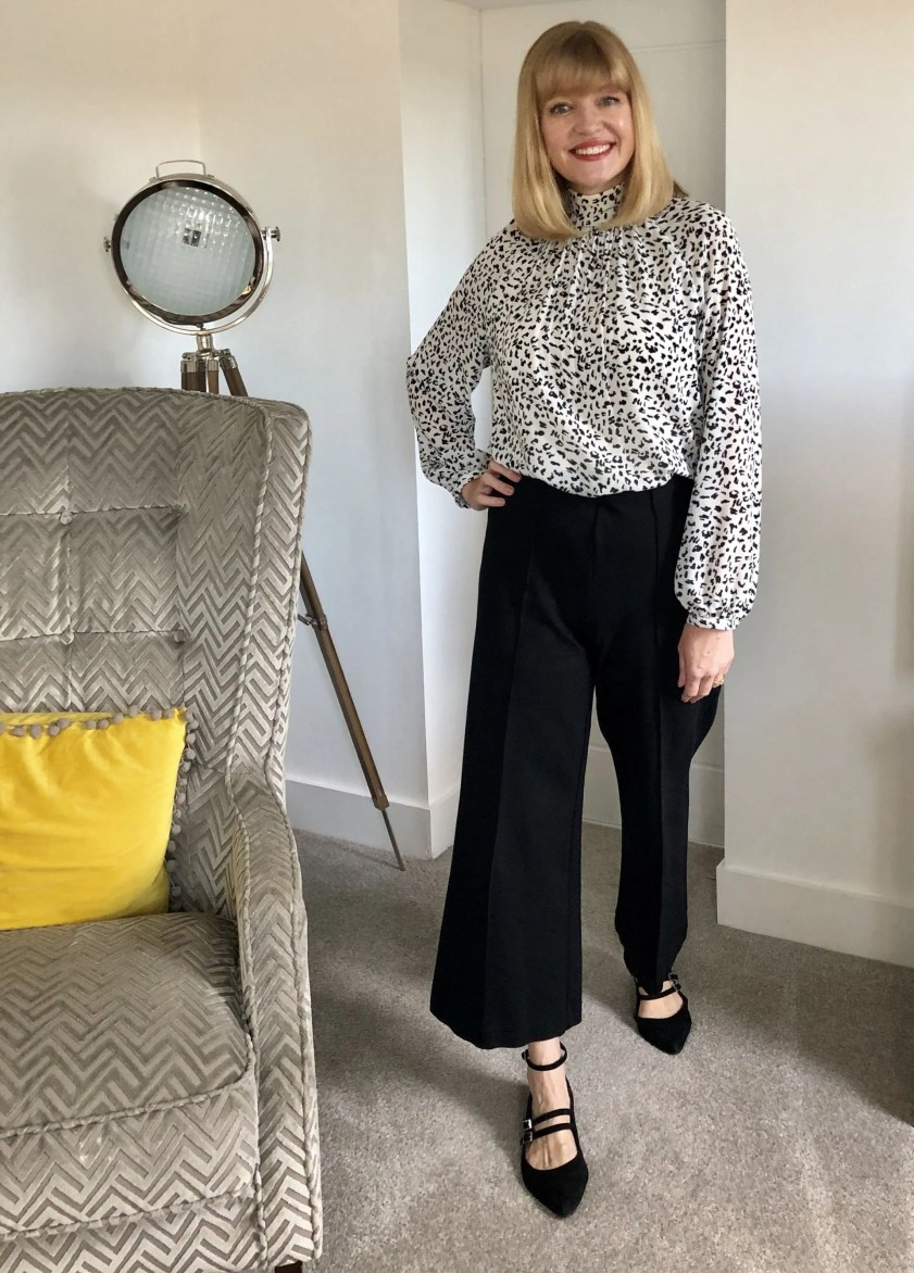 wide trousers and leopard print blouse