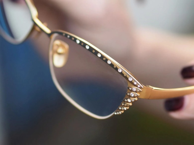 Stepper exclusive gold and swarovski crystal cat eye frames