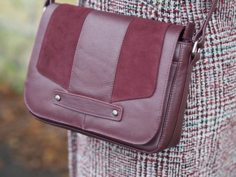 burgundy coat and bag