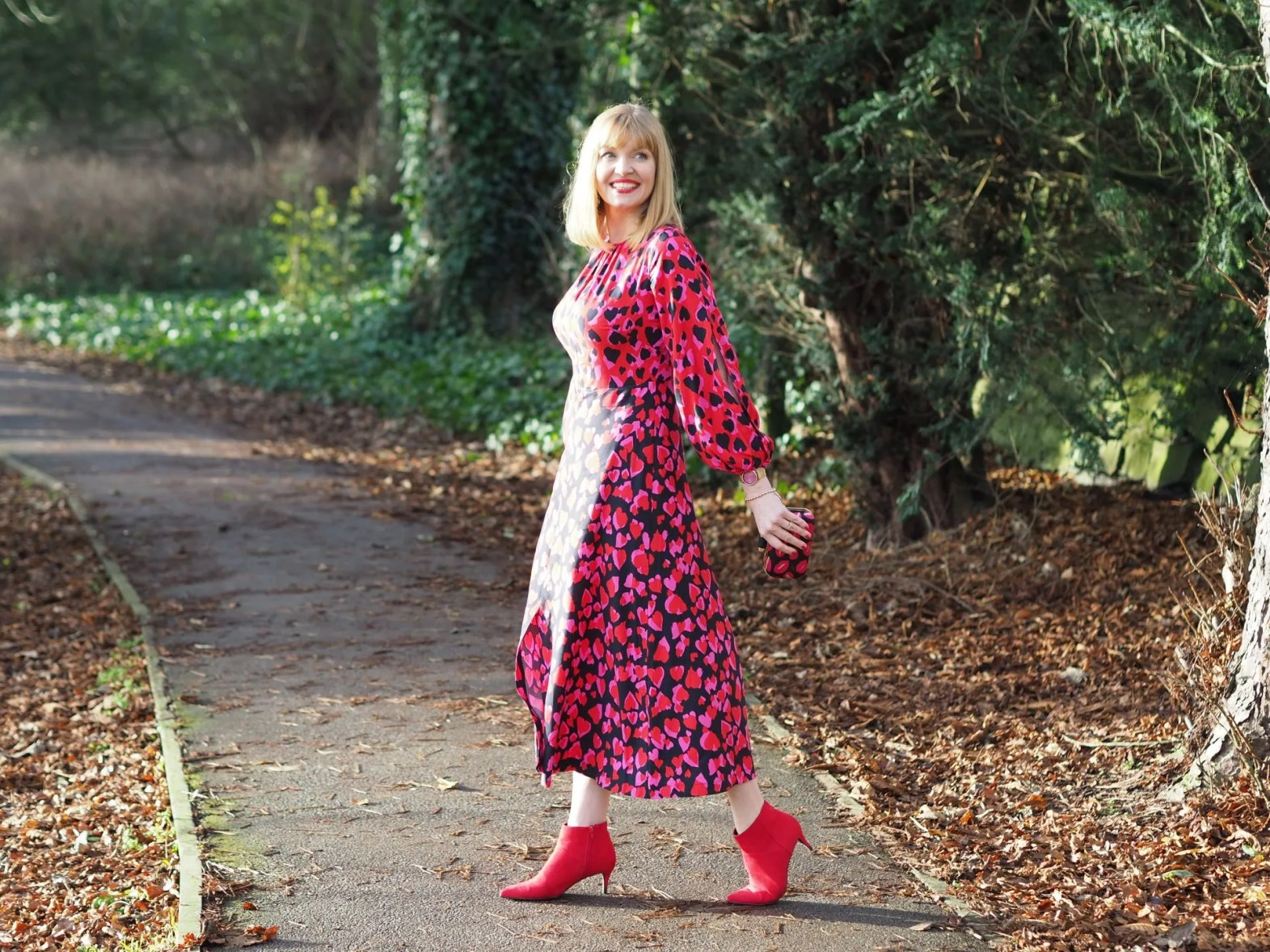 Christmas day outfit red heart print midi dress ankle boots