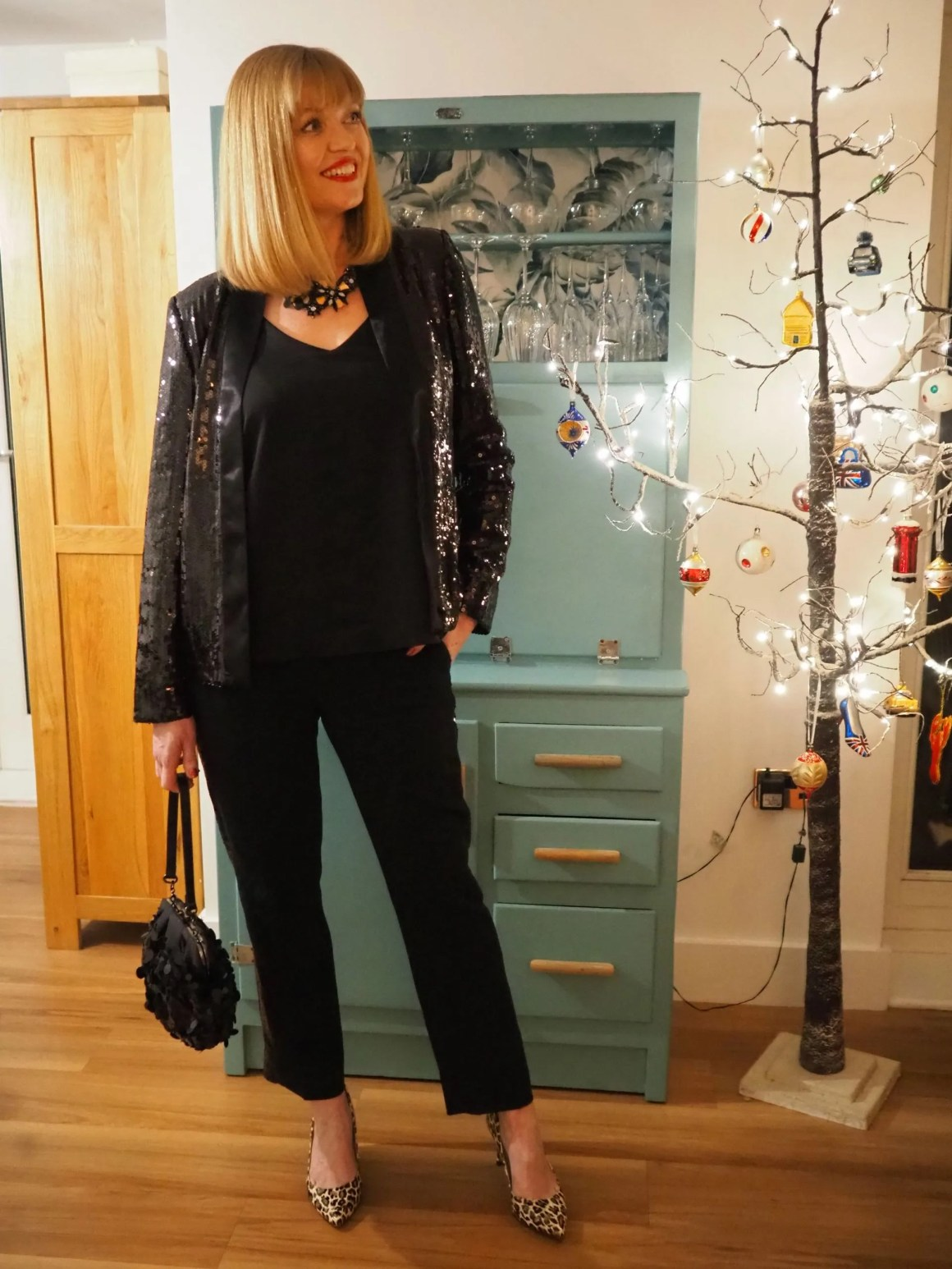 sequin tuxedo jacket and trousers leopard print shoes christmas outfit