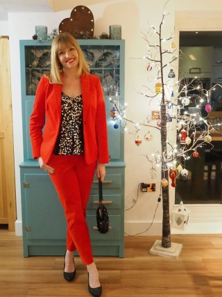 red velvet trouser suit sequin cami