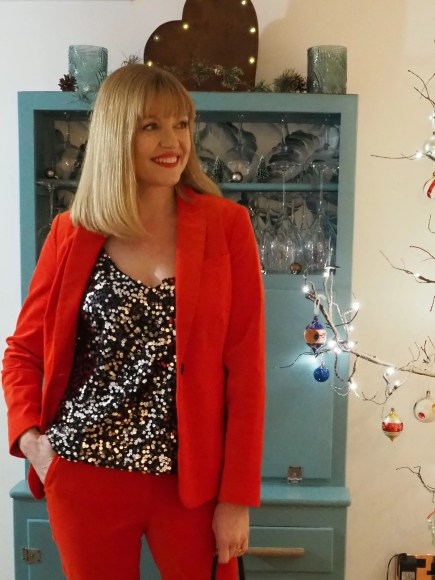 red velvet trouser suit sequin cami