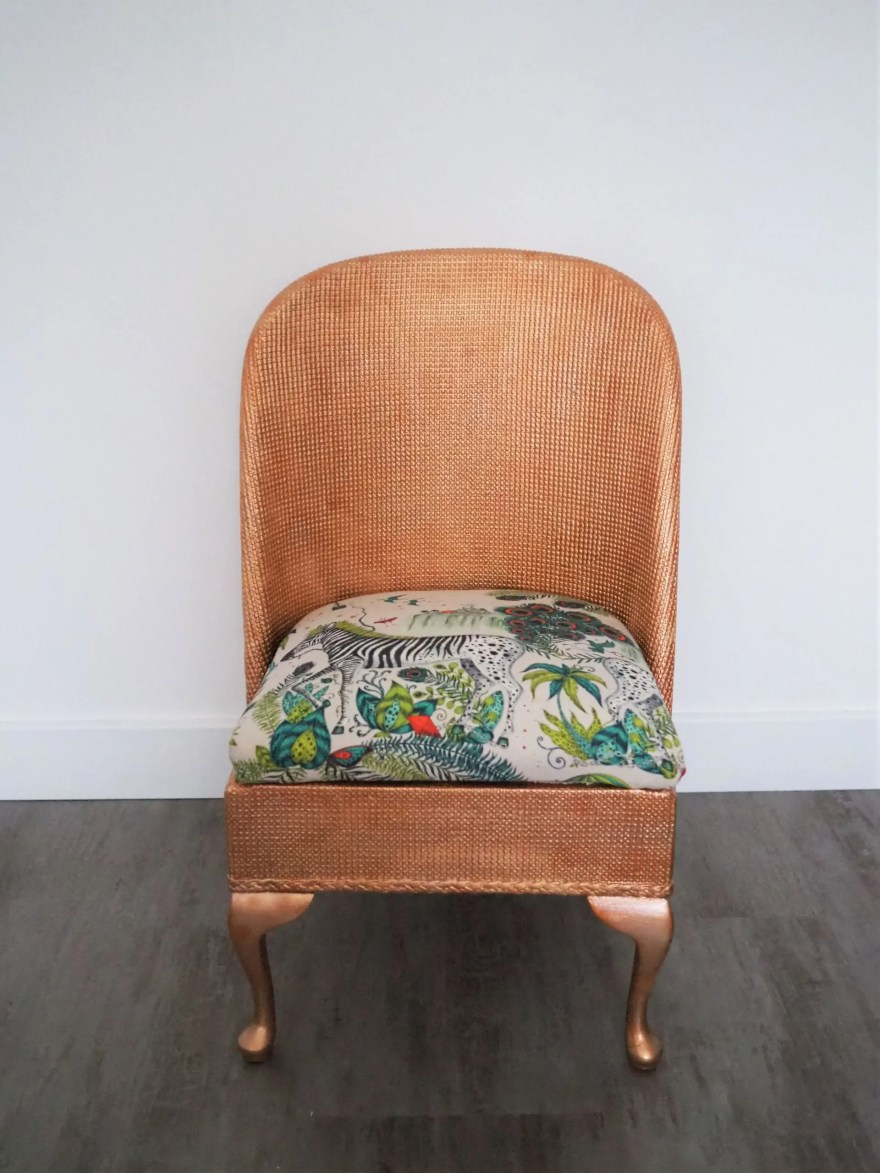 how to upcycle a Lloyd Loom chair with copper paint